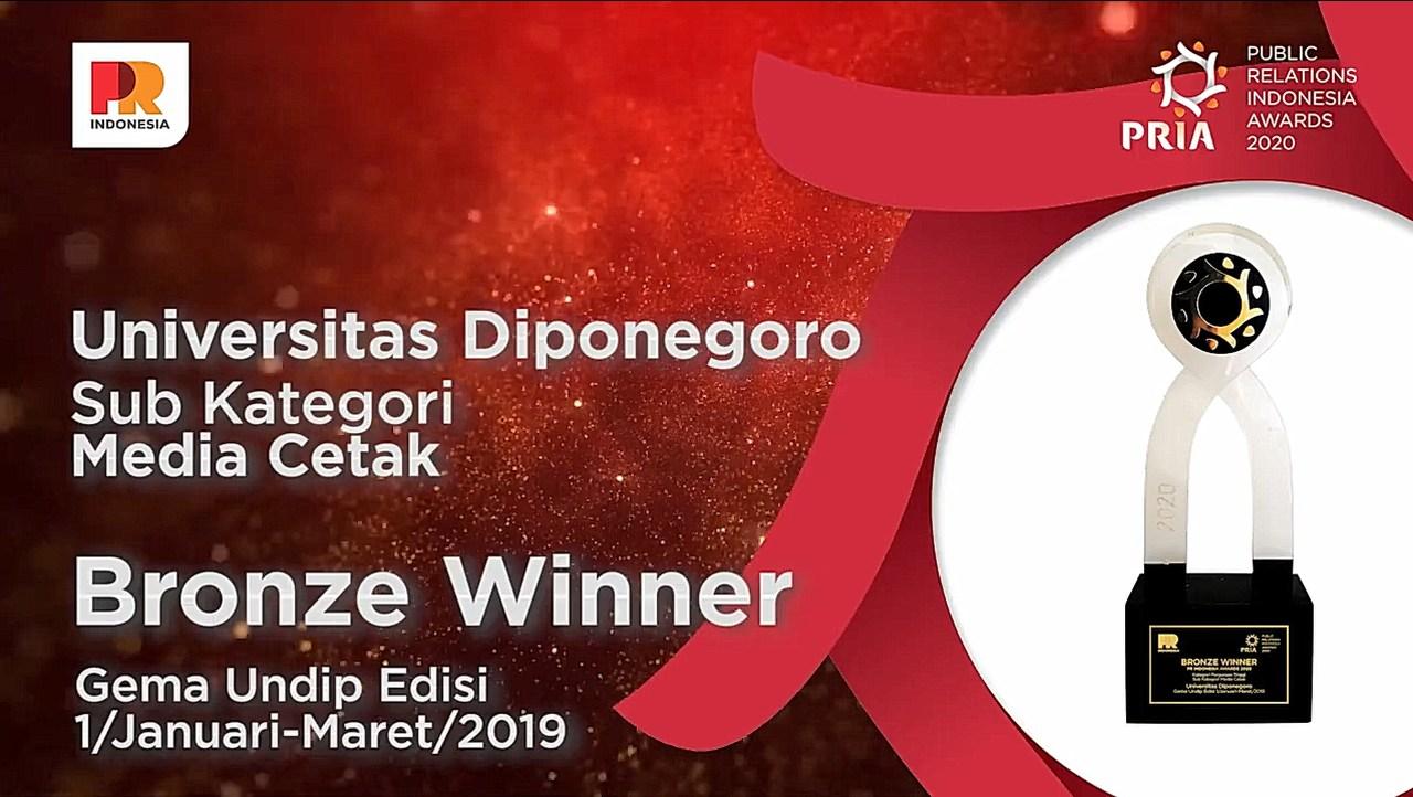 Humas UNDIP Raih Bronze Winner di PR Indonesia Awards 2020
