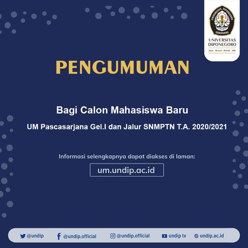 Info untuk Calon Mahasiswa Baru UM Pascasarjana Gel.I dan Jalur SNMPTN T.A. 2020/2021