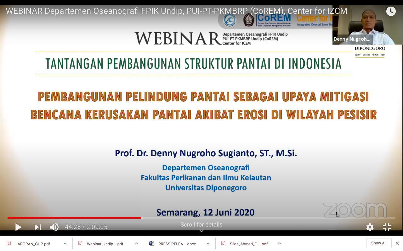 Webinar Department Of Oceanography Fpik Undip Pui Pt Pkmbrp Corem Center For Izcm Universitas Diponegoro