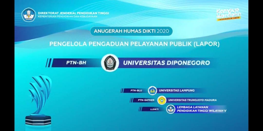 UNDIP Raih Predikat Terbaik Pengelola Pengaduan Pelayanan Publik (LAPOR)