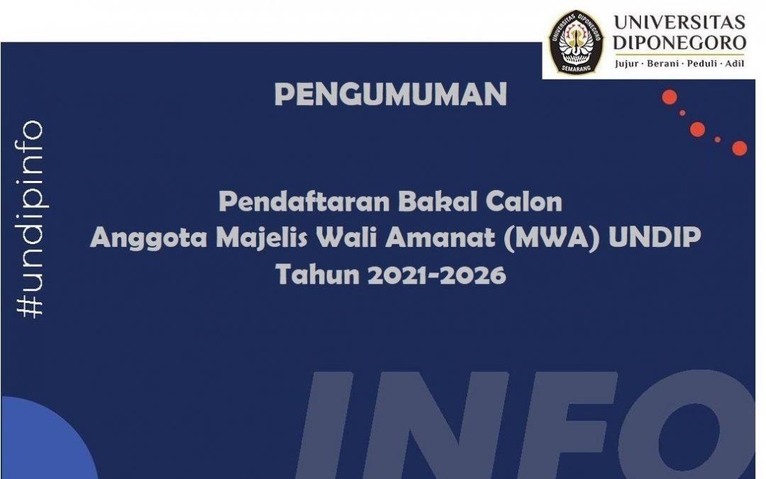 Pengumuman : Pendaftaran Bakal Calon Anggota Majelis Wali Amanat (MWA) UNDIP Tahun 2021-2026