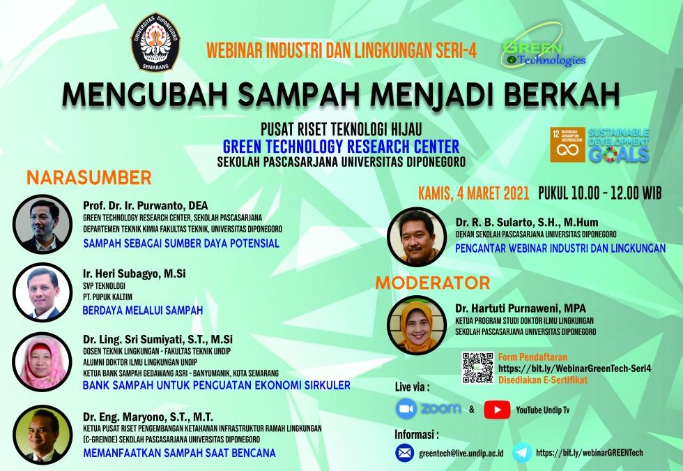UNDIP Industrial and Environmental Webinar Series-4: Plastic Waste is Difficult to Use as a Fuel Sources