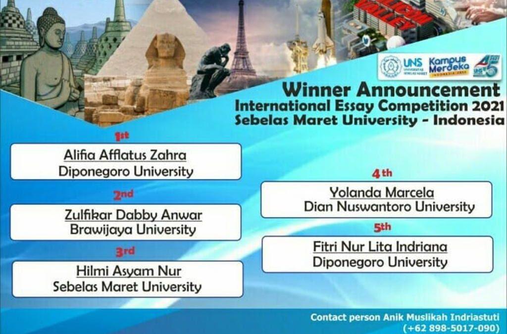 Dua Mahasiswa Undip Menangkan International Essay Competition 2021 Yang Diselenggarakan Universitas Sebelas Maret