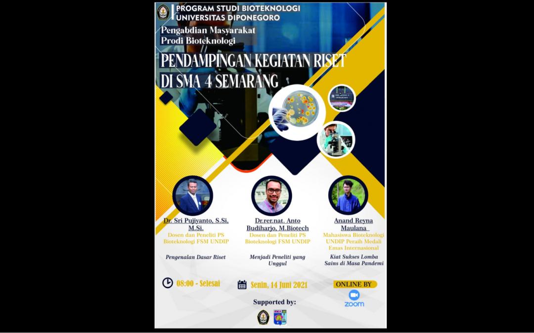 Bioteknologi FSM Undip Memberikan Pelatihan Riset Kepada Siswa SMA Negeri 4 Semarang