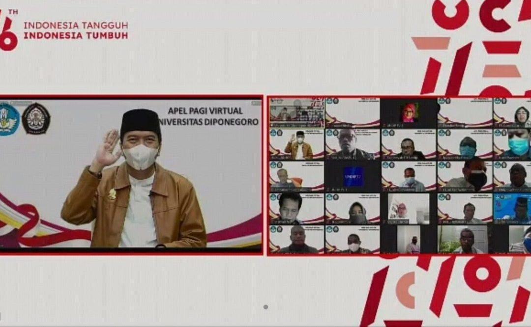 Apel Pagi Virtual, Rektor Undip Ingatkan Perlunya Mitigasi Bencana dan Tata Kelola Lingkungan yang Baik