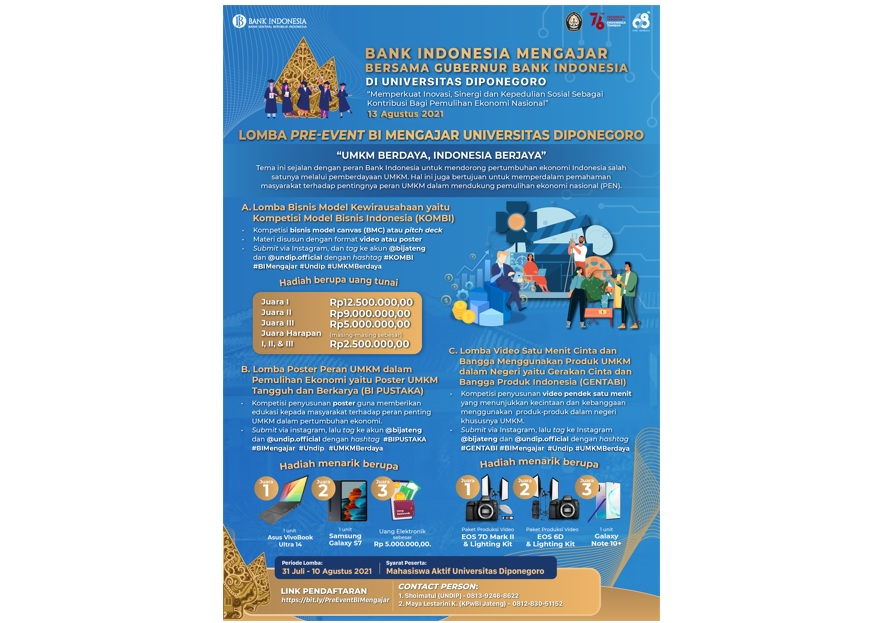 """Announcement of Extension of Submit Registration for the Pre-Event Competition of """"BI Teaching"""" at Diponegoro University"""
