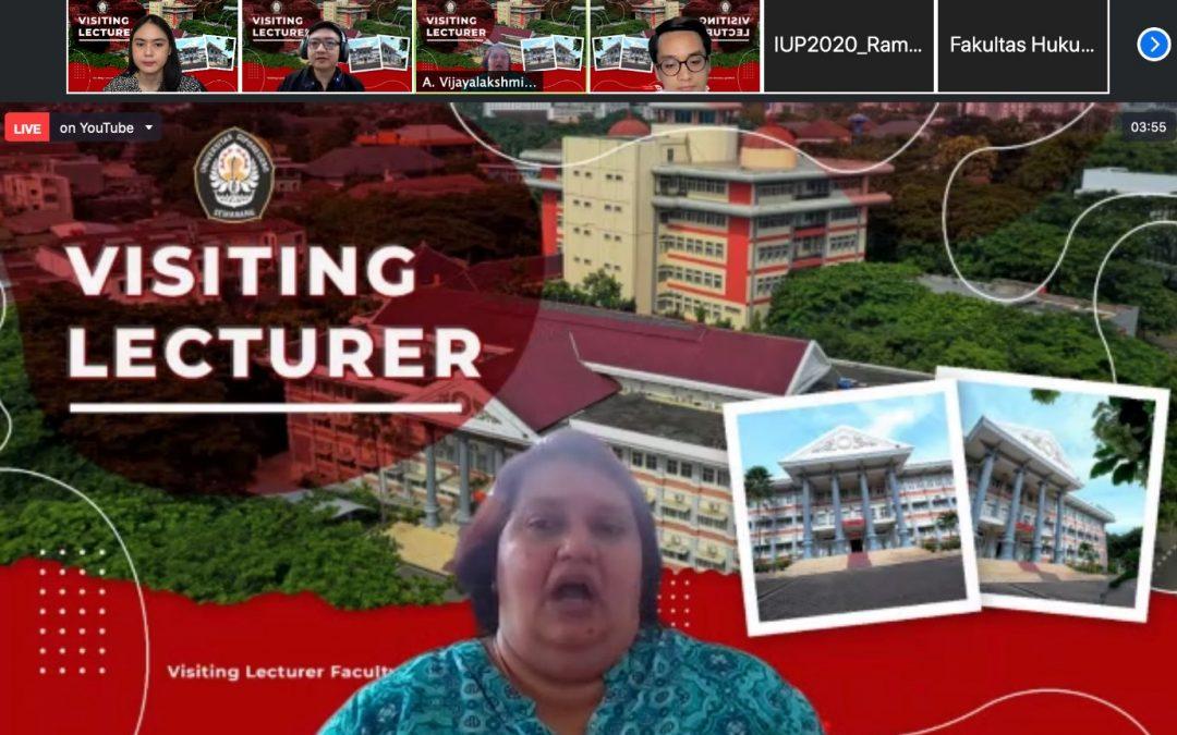 Kuliah Tamu Dr Vijayalakshmi dari SLTU Malaysia di FH UNDIP Bahas Hak Cipta Digital