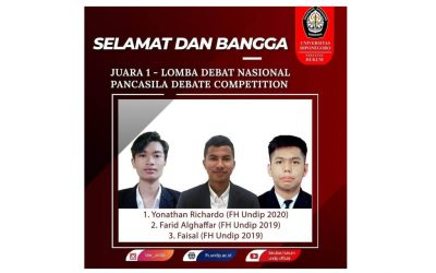 Student Team from Faculty of Law UNDIP Won 1st Place in Pancasila Debate Competition 2021