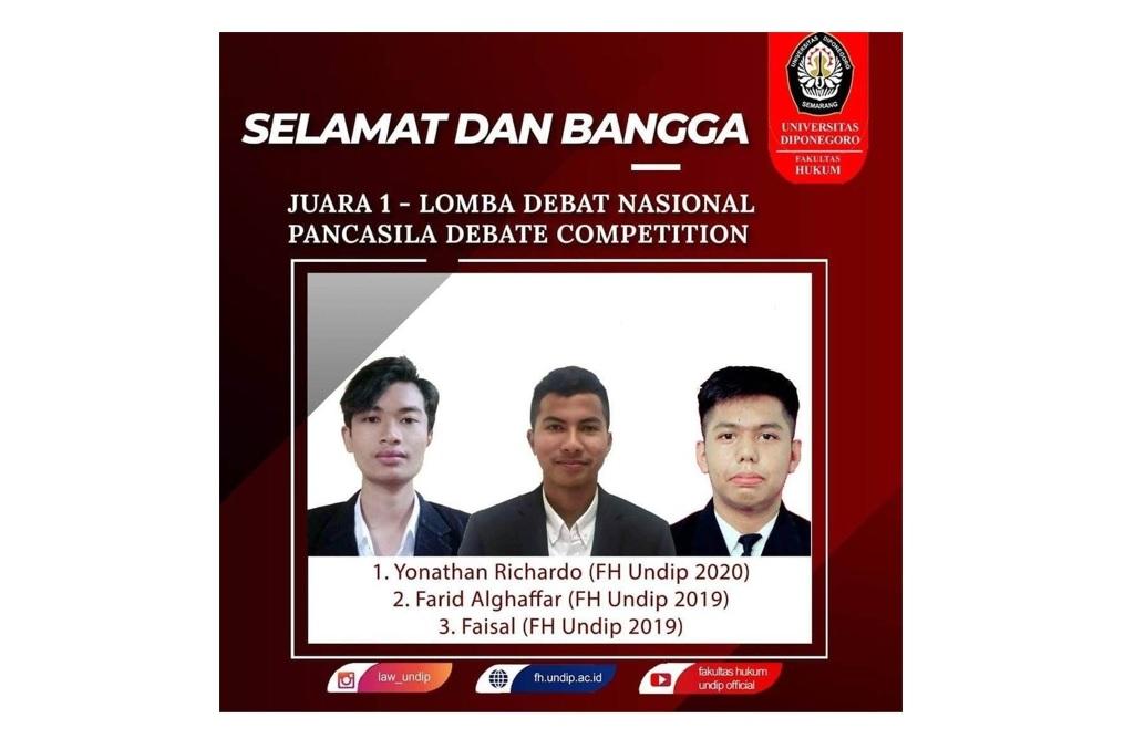 Tim Mahasiswa Fakultas Hukum UNDIP Juara 1 Pancasila Debate Competition 2021