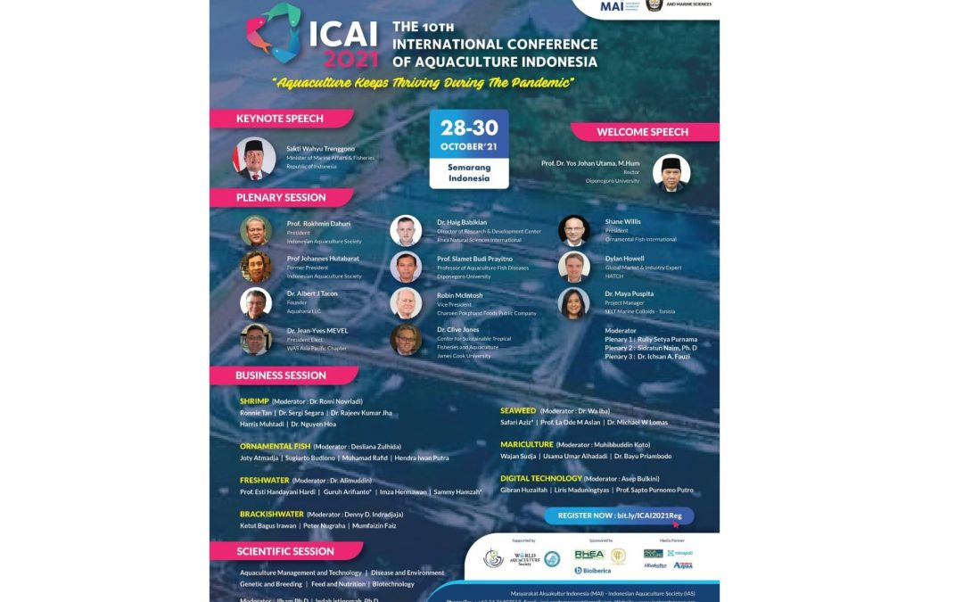 """MAI and Faculty of Fisheries and Marine Science UNDIP Held International Conference """"ICAI 2021"""" to Discuss Aquaculture Development in the Midst of Pandemic"""